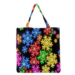 Colourful Snowflake Wallpaper Pattern Grocery Tote Bag