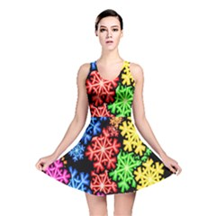 Colourful Snowflake Wallpaper Pattern Reversible Skater Dress