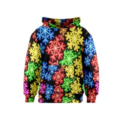 Colourful Snowflake Wallpaper Pattern Kids  Pullover Hoodie