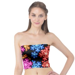 Colourful Snowflake Wallpaper Pattern Tube Top
