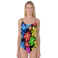 Colourful Snowflake Wallpaper Pattern Camisole Leotard