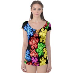 Colourful Snowflake Wallpaper Pattern Boyleg Leotard