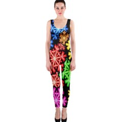 Colourful Snowflake Wallpaper Pattern OnePiece Catsuit