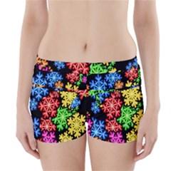 Colourful Snowflake Wallpaper Pattern Boyleg Bikini Wrap Bottoms