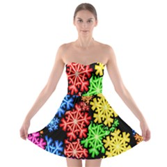 Colourful Snowflake Wallpaper Pattern Strapless Bra Top Dress