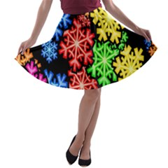 Colourful Snowflake Wallpaper Pattern A Line Skater Skirt