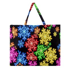Colourful Snowflake Wallpaper Pattern Zipper Large Tote Bag