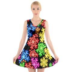 Colourful Snowflake Wallpaper Pattern V Neck Sleeveless Skater Dress