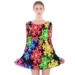 Colourful Snowflake Wallpaper Pattern Long Sleeve Velvet Skater Dress