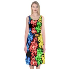 Colourful Snowflake Wallpaper Pattern Midi Sleeveless Dress