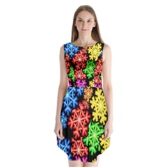Colourful Snowflake Wallpaper Pattern Sleeveless Chiffon Dress