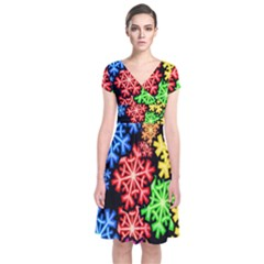 Colourful Snowflake Wallpaper Pattern Short Sleeve Front Wrap Dress