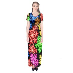 Colourful Snowflake Wallpaper Pattern Short Sleeve Maxi Dress