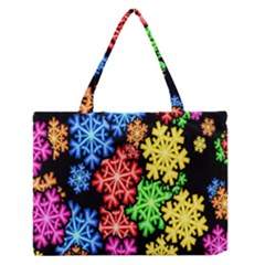 Colourful Snowflake Wallpaper Pattern Medium Zipper Tote Bag