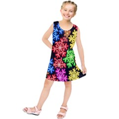 Colourful Snowflake Wallpaper Pattern Kids  Tunic Dress