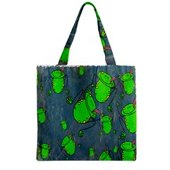 Cartoon Grunge Frog Wallpaper Background Grocery Tote Bag
