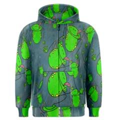 Cartoon Grunge Frog Wallpaper Background Men s Zipper Hoodie