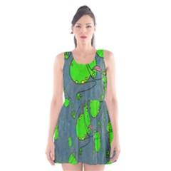 Cartoon Grunge Frog Wallpaper Background Scoop Neck Skater Dress