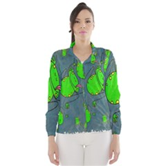 Cartoon Grunge Frog Wallpaper Background Wind Breaker (women)