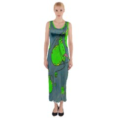 Cartoon Grunge Frog Wallpaper Background Fitted Maxi Dress