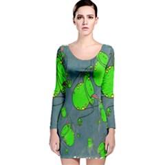 Cartoon Grunge Frog Wallpaper Background Long Sleeve Velvet Bodycon Dress