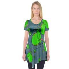Cartoon Grunge Frog Wallpaper Background Short Sleeve Tunic