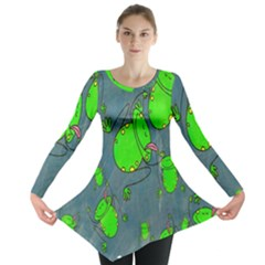 Cartoon Grunge Frog Wallpaper Background Long Sleeve Tunic