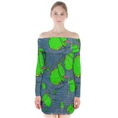 Cartoon Grunge Frog Wallpaper Background Long Sleeve Off Shoulder Dress
