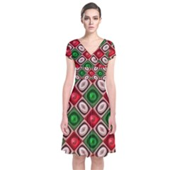 Gem Texture A Completely Seamless Tile Able Background Design Short Sleeve Front Wrap Dress