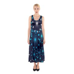Digitally Created Snowflake Pattern Background Sleeveless Maxi Dress