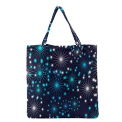 Digitally Created Snowflake Pattern Background Grocery Tote Bag