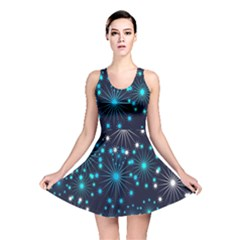 Digitally Created Snowflake Pattern Background Reversible Skater Dress