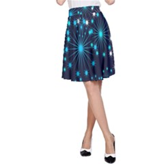 Digitally Created Snowflake Pattern Background A-Line Skirt