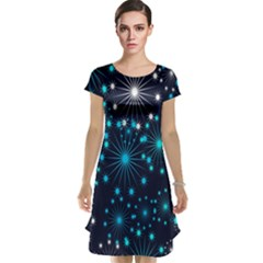 Digitally Created Snowflake Pattern Background Cap Sleeve Nightdress