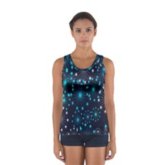 Digitally Created Snowflake Pattern Background Women s Sport Tank Top