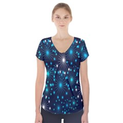Digitally Created Snowflake Pattern Background Short Sleeve Front Detail Top