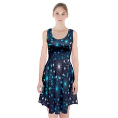 Digitally Created Snowflake Pattern Background Racerback Midi Dress