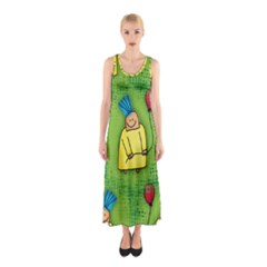 Party Kid A Completely Seamless Tile Able Design Sleeveless Maxi Dress