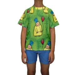 Party Kid A Completely Seamless Tile Able Design Kids  Short Sleeve Swimwear