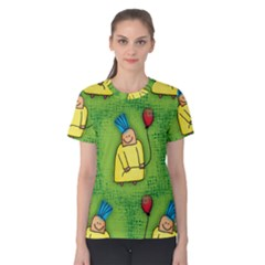 Party Kid A Completely Seamless Tile Able Design Women s Cotton Tee
