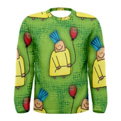 Party Kid A Completely Seamless Tile Able Design Men s Long Sleeve Tee