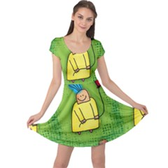 Party Kid A Completely Seamless Tile Able Design Cap Sleeve Dresses