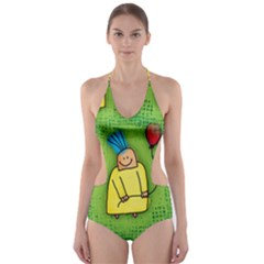 Party Kid A Completely Seamless Tile Able Design Cut-Out One Piece Swimsuit