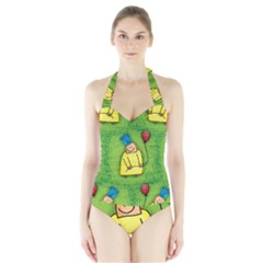 Party Kid A Completely Seamless Tile Able Design Halter Swimsuit