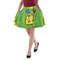 Party Kid A Completely Seamless Tile Able Design A-Line Pocket Skirt