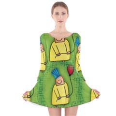 Party Kid A Completely Seamless Tile Able Design Long Sleeve Velvet Skater Dress