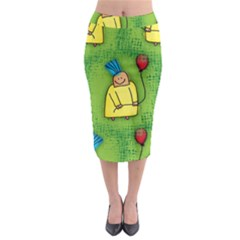 Party Kid A Completely Seamless Tile Able Design Midi Pencil Skirt