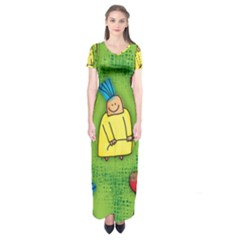 Party Kid A Completely Seamless Tile Able Design Short Sleeve Maxi Dress