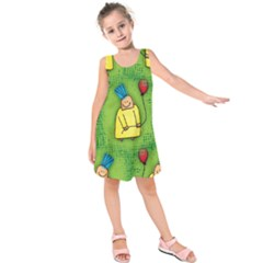Party Kid A Completely Seamless Tile Able Design Kids  Sleeveless Dress