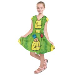 Party Kid A Completely Seamless Tile Able Design Kids  Short Sleeve Dress